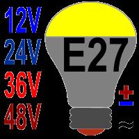 Светодиодные лампы Е27 на 12, 24, 36, 48 вольт