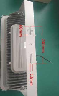 Размеры задней скобы светодиодного прожектора FL360C