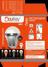 Разворот картонной коробки светодиодных ламп серии BX1