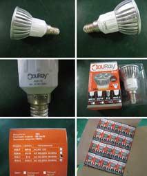 Процесс упаковки лампы светодиодной R30-1
