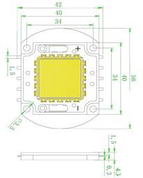 Размеры светодиодной матрица 100 Ватт