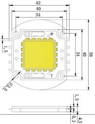 Размеры светодиодной матрица 60 Ватт