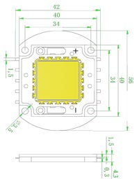 Размеры светодиодной матрица 80 Ватт